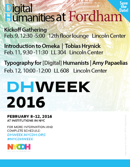 DHWeekPosterEvents at Fordham
