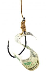 Fishing hook and money isolated on white background