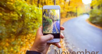 Autumn scene with iphone