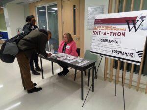 registration desk at edit-a-thon event