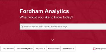 Screenshot of Analytics Landing page