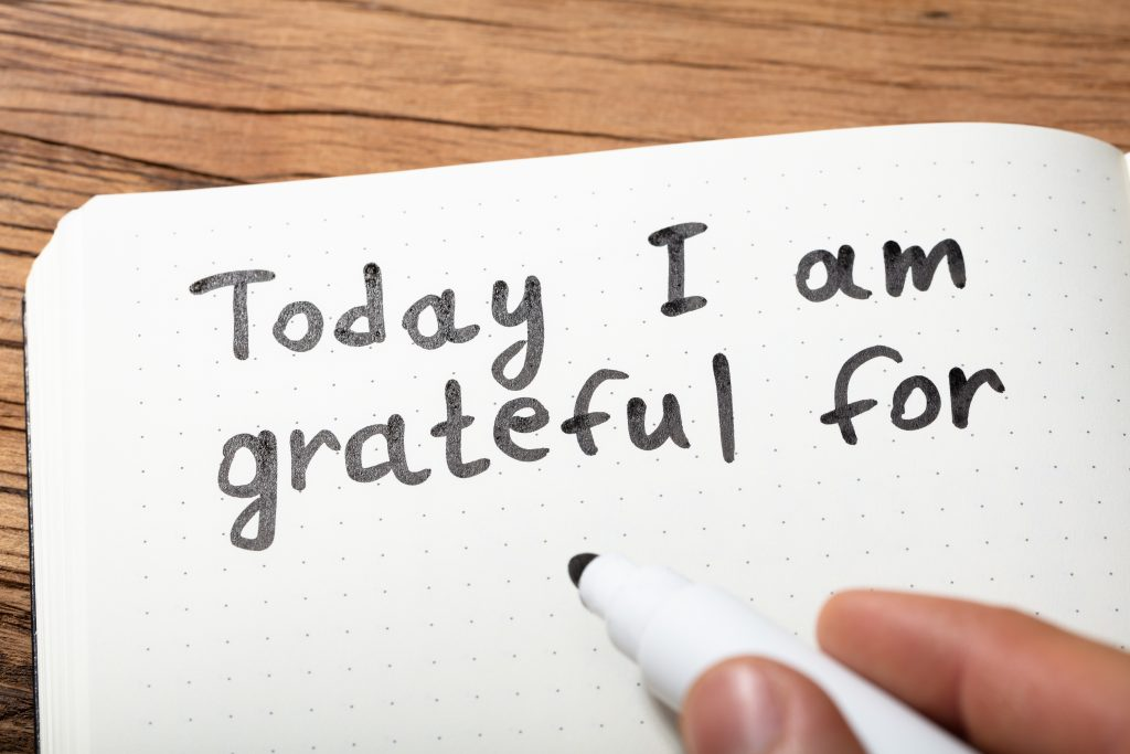 "Notebook page with text ""Today I am grateful for"""
