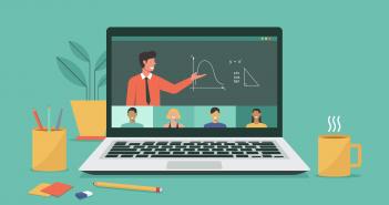 laptop computer showing online class