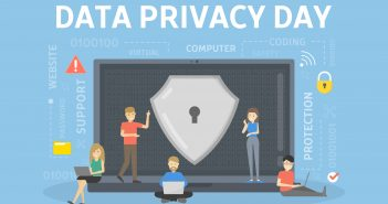 Data privacy day, illustration of large laptop with a lock on the screen. Lilliputian-sized people perched upon it