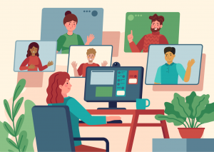 Graphic of virtual meeting.